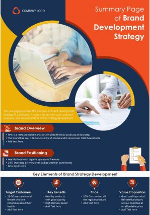 Summary Page Of Brand Development Strategy Presentation Report Infographic PPT PDF Document