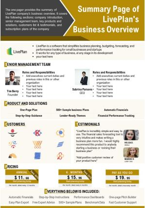 Summary Page Of Liveplans Business Overview Presentation Report Infographic PPT PDF Document