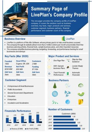 Summary Page Of Liveplans Company Profile Presentation Report Infographic PPT PDF Document