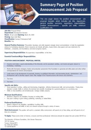Summary Page Of Position Announcement Job Proposal Presentation Report Infographic PPT PDF Document
