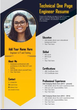 Technical One Page Engineer Resume Presentation Report Infographic PPT PDF Document