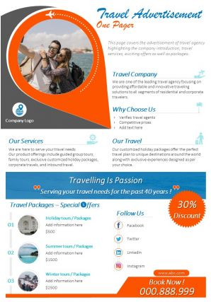 Travel Advertisement One Pager Presentation Report Infographic PPT PDF Document