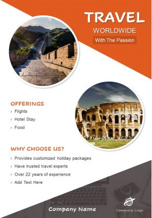 Travel Around The World Two Page Brochure Template