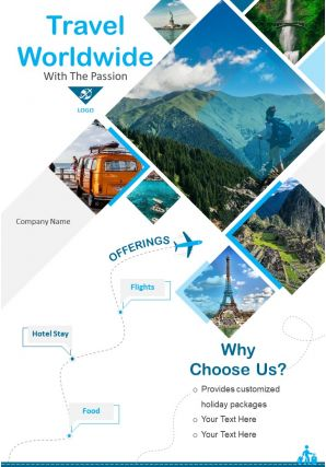Traveling Around The World Two Page Brochure Template