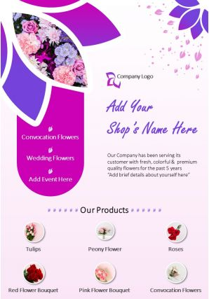 Trendy Flower Shop Two Page Brochure Template