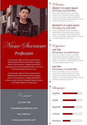 Unique CV Format Visual Resume Design With Working Skills