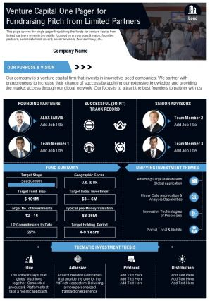 Venture Capital One Pager For Fundraising Pitch From Limited Partners Report PPT PDF Document