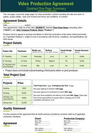 Video Production Agreement Contract One Page Summary Presentation Report Infographic PPT PDF Document