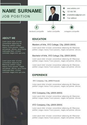 Visual Curriculum Vitae Sample Resume Design For Job Search