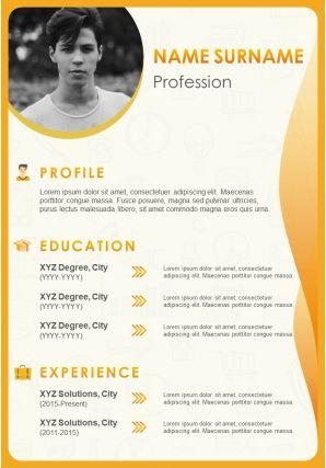 Visual Resume Design For Job Application CV Template
