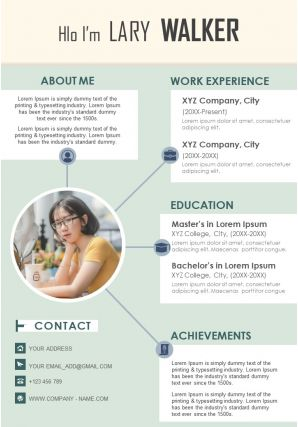 Visual Resume Design Template With Work Experience And Educational Details