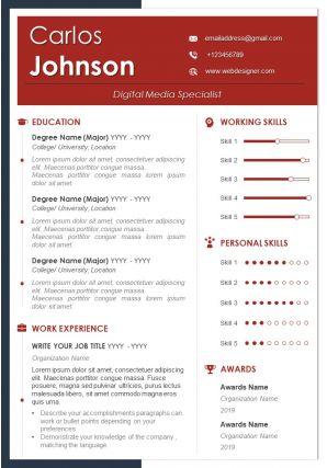 Visual Resume Format For Digital Media Specialist