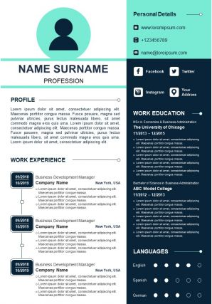Visual Resume Sample Design With Educational Details