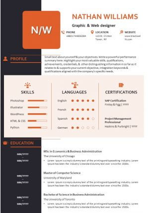 Visual Resume Template With Personal Details And Professional Skills