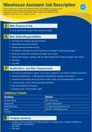 Warehouse Assistant Job Description Presentation Report Infographic PPT PDF Document