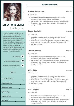 Web Designer CV Template With Job Description