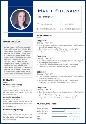 Web Designer Visual Resume Sample With Professional Skills