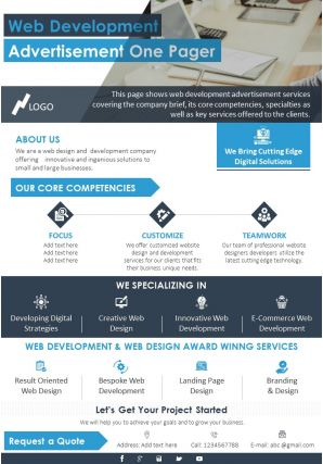Web Development Advertisement One Pager Presentation Report Infographic PPT PDF Document
