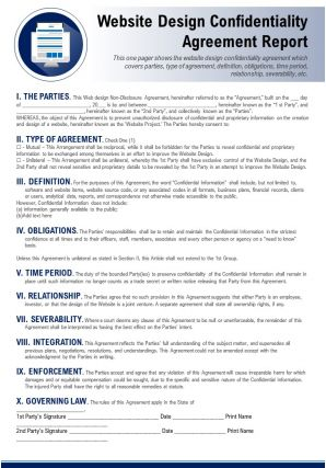 Website Design Confidentiality Agreement Report Presentation Report Infographic PPT PDF Document