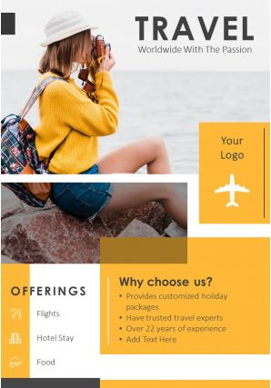 World Travel Agent Two Page Brochure Template