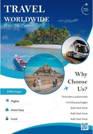 World Travel And Tourism Two Page Brochure Template