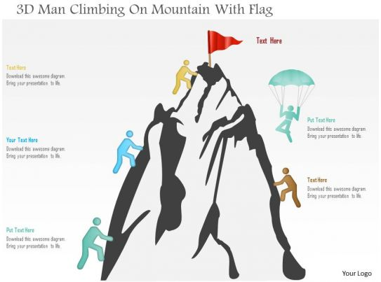 0115 3d Man Climbing On Mountain With Flag Powerpoint