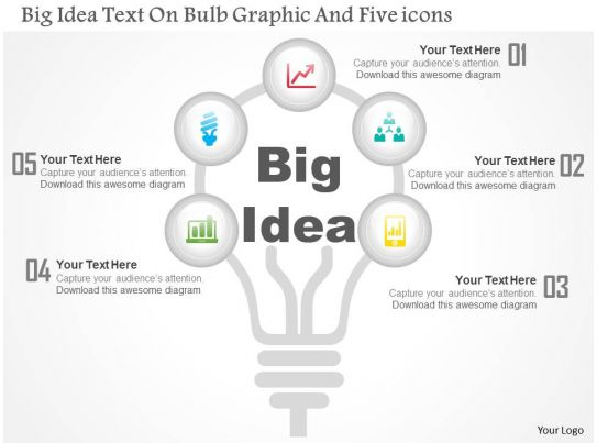 0115 big idea text on bulb graphic and five icons