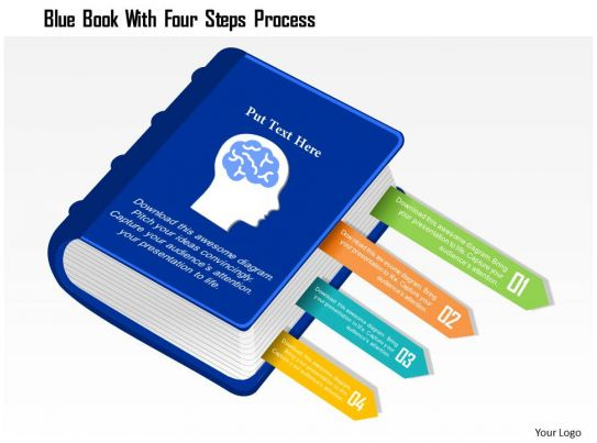 0115 blue book with four steps process powerpoint template powerpoint presentation pictures. Black Bedroom Furniture Sets. Home Design Ideas