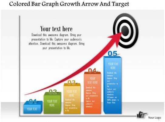 circular bulls eye process powerpoint presentation diagrams icons       colored bar graph growth arrow and target powerpoint template slide