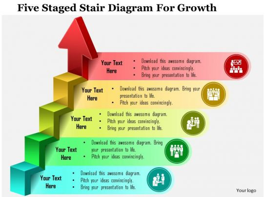 0115 Five Staged Stair Diagram For Growth Powerpoint