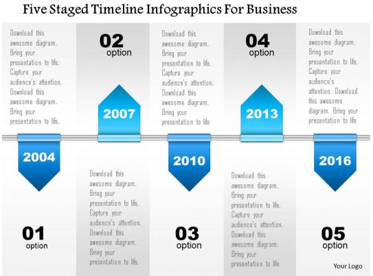 define template in powerpoint - 0115 five staged timeline infographics for business
