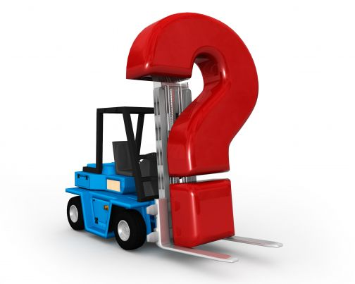 0115 forklift truck and red question mark stock photo slide01