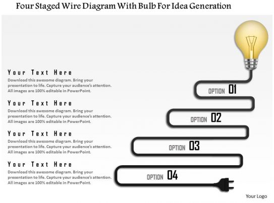 0115 four staged wire diagram with bulb for idea generation 0115 four staged wire diagram with bulb for idea generation powerpoint template presentation powerpoint templates ppt slide templates presentation asfbconference2016 Images