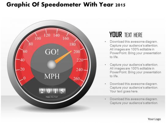 0115 graphic of speedometer with year 2015 powerpoint template, Powerpoint templates