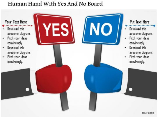 0115 Human Hand With Yes And No Board Powerpoint Template