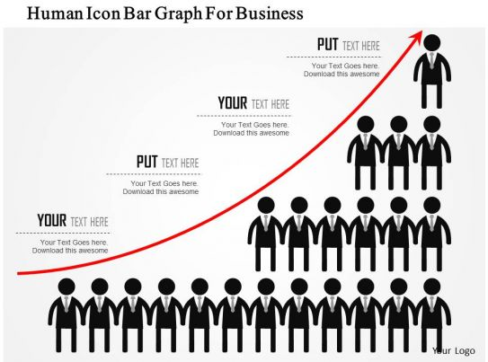 0115 human icon bar graph for business powerpoint template