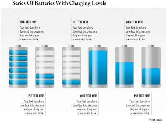 0115 series of batteries with charging levels powerpoint template