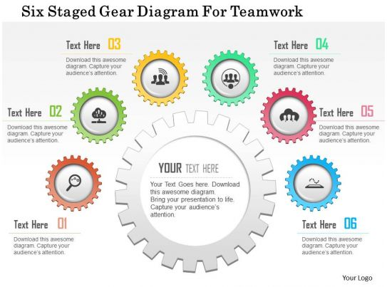 0115 Six Staged Gear Diagram For Teamwork Powerpoint