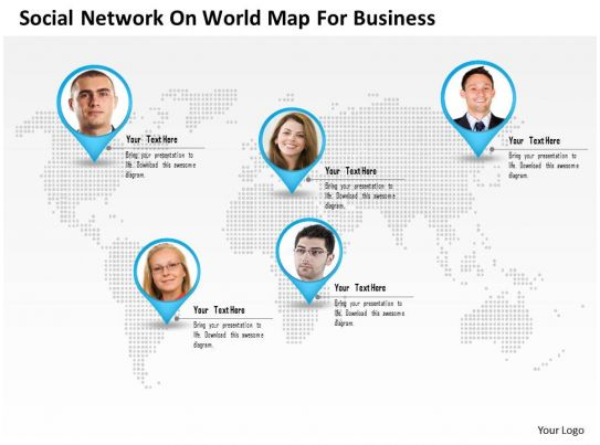 0115 social network on world map for business powerpoint template ...