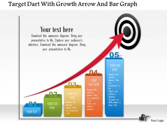 0115 Target Dart With Growth Arrow And Bar Graph