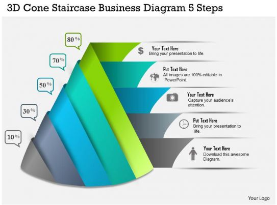 five staged pyramid diagram flat powerpoint design business ppt diagram d cone staircase business diagram  steps powerpoint