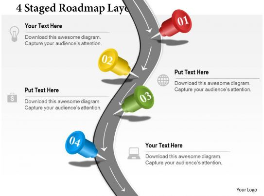 setting up a powerpoint template - 0314 business ppt diagram 4 staged roadmap layout