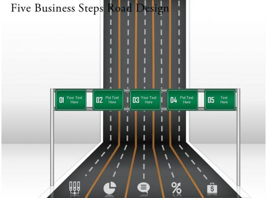 0314 business ppt diagram five business steps road design