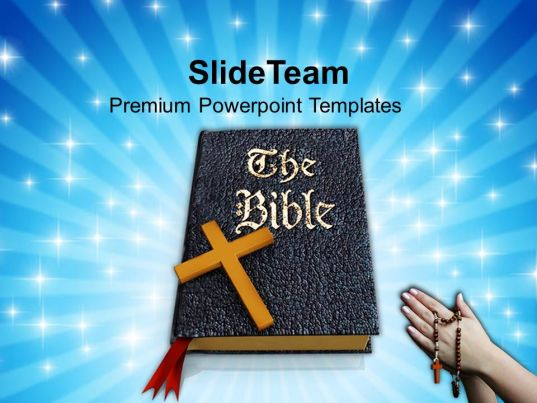 0413 praying hands to holy bible for success powerpoint