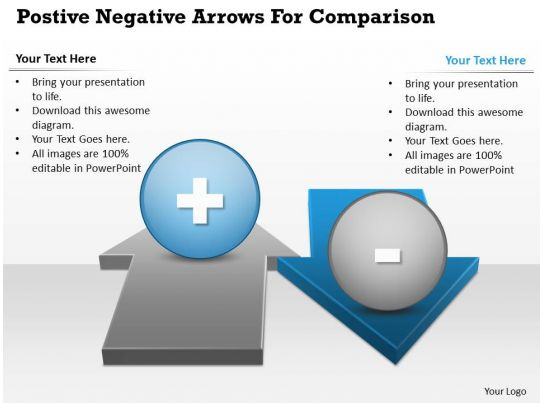 0414 Business Consulting Diagram Postive Negative Arrows For