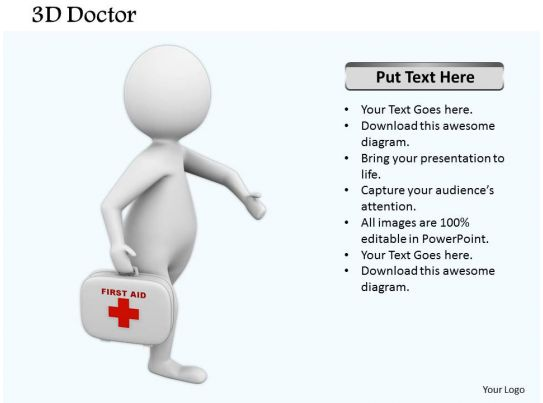 0514 3d graphic doctor with first aid box medical images for powerpoint powerpoint. Black Bedroom Furniture Sets. Home Design Ideas