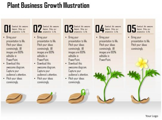 0514 plant business growth illustration powerpoint presentation powerpoint presentation slides - Successful flower growing business ...