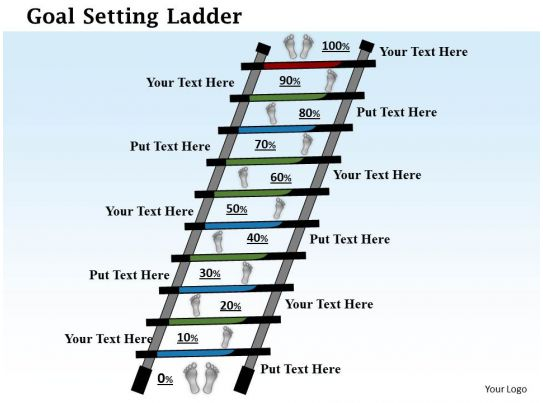 0614 Goal Setting Ladder Powerpoint Presentation Slide Template