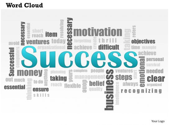 0614 Success Word Cloud Powerpoint Slide Template