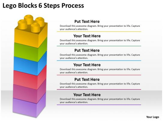 0620 timeline chart lego blocks 6 steps process powerpoint